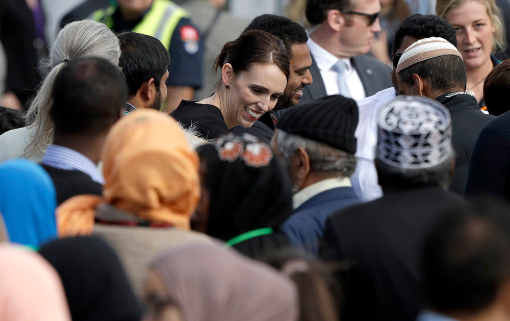 New Zealand Prime Minister Jacinda Ardern meets members of the Muslim community following a national remembrance service in Hagley Park for the victims of the March 15 mosques terrorist attack in Christchurch, New Zealand, Friday, March 29, 2019. (AP Photo/Mark Baker)