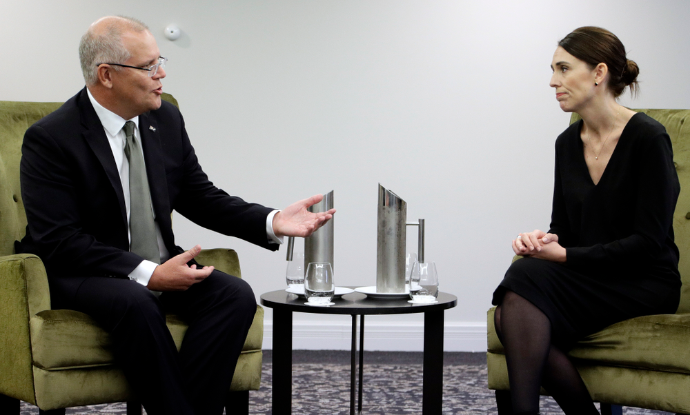 New Zealand Prime Minister Jacinda Ardern, right, listens to Australian Prime Minister Scott Morrison at a bilateral meeting following a national remembrance service for the victims of the March 15 mosques terrorist attack in Christchurch, New Zealand, Friday, March 29, 2019. (AP Photo/Mark Baker, Pool)