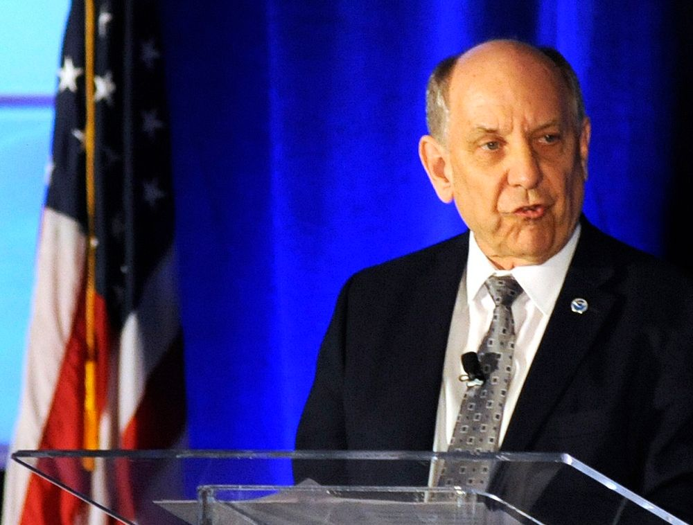 National Weather Service Director Louis Uccellini addresses a meeting of the National Weather Association in Huntsville, Ala., Monday, Sept. 9, 2019. Uccellini defended forecasters who contradicted President Donald Trump's claim that Hurricane Dorian posed a threat to Alabama as it approached the United States. (AP Photo/Jay Reeves)
