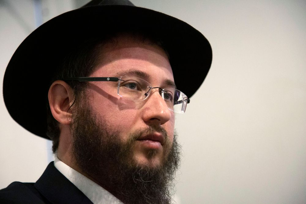 In this Nov. 22, 2019, photo, Rabbi Levi Greenberg, from El Paso, Texas, speaks to The Associated Press during the International Conference of Chabad-Lubavitch Emissaries in New York. At a time when anti-Semitic incidents are on the rise worldwide, schools should take steps to teach empathy as an antidote to racism and religious hatred.
