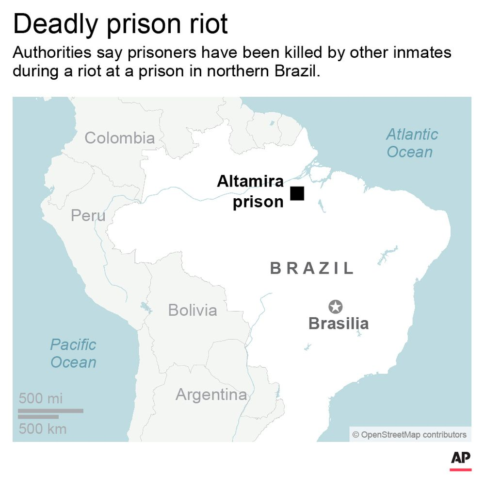 Adds jpeg; map shows location of Brazil prison riot; 2c x 3 1/2 inches; 96.3 mm x 88 mm;