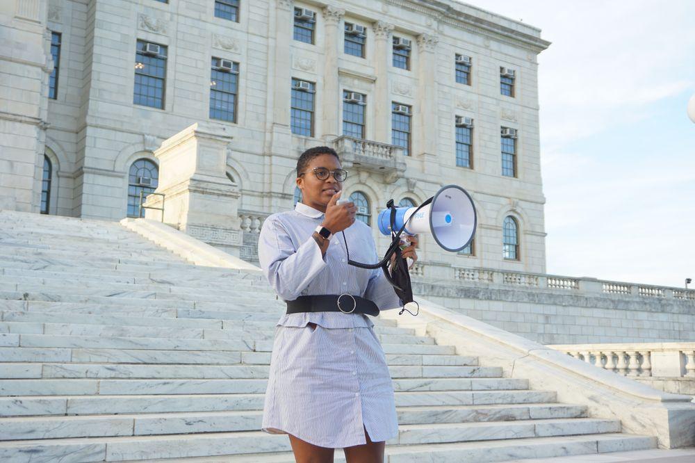 Sen. Tiara Mack speaking during the gathering.