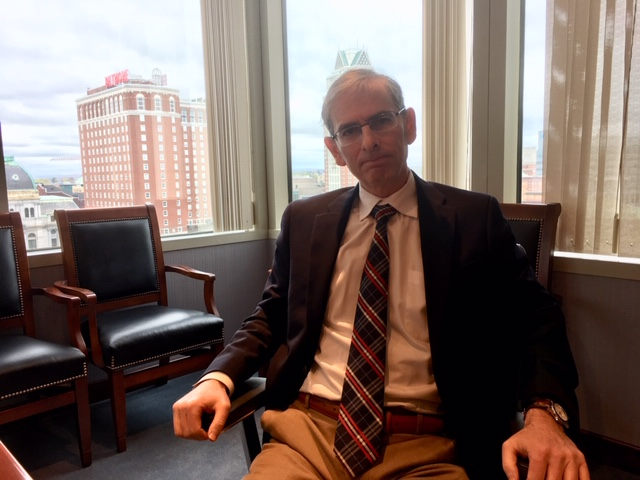 Weisman in his office overlooking downtown Providence.