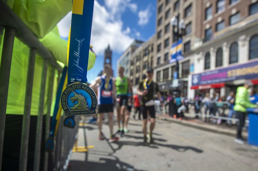 A Boston Marathon medal waits for a finisher.
