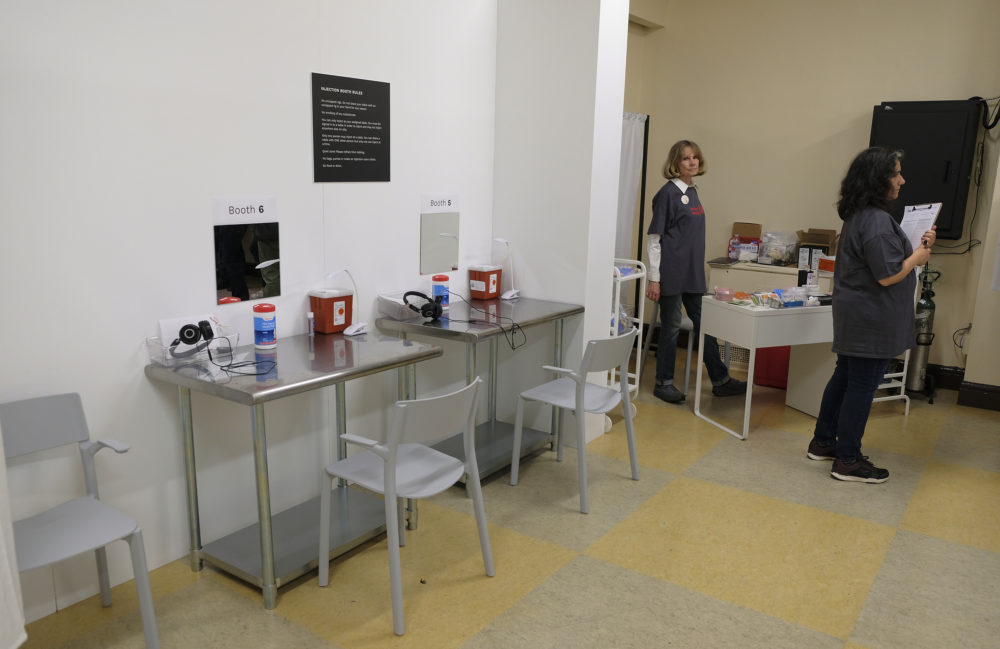 Pictured are booth injection stations at Safer Inside, a realistic model of a safe injection site in San Francisco, on Aug. 29, 2018.