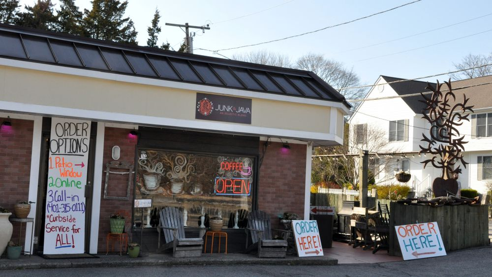 Junk & Java coffee shop in Westerly, R.I., directs customers to a side order window