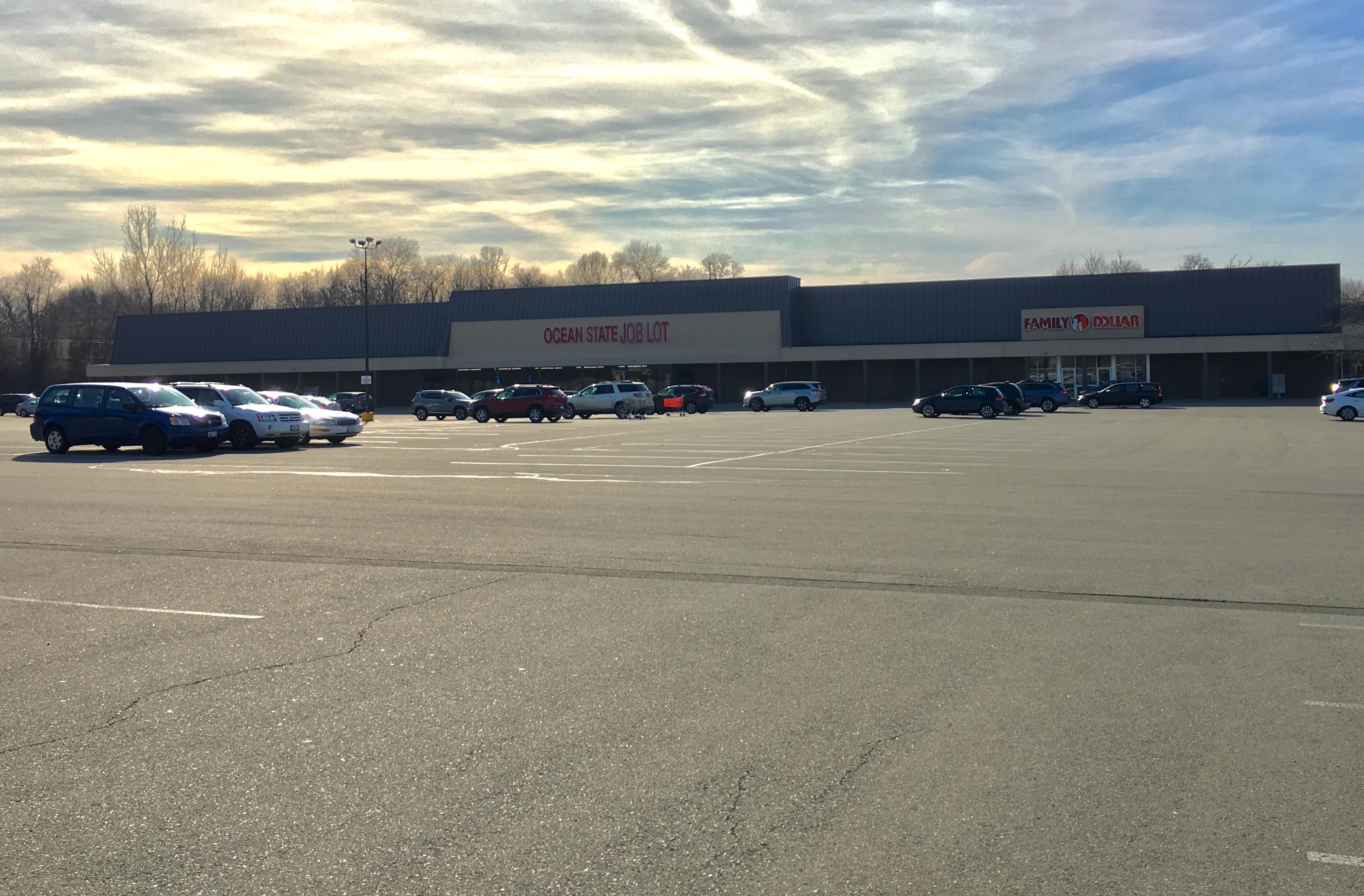 The Ocean State Job Lot plaza on Metacom Avenue is mostly occupied by a vast parking lot.