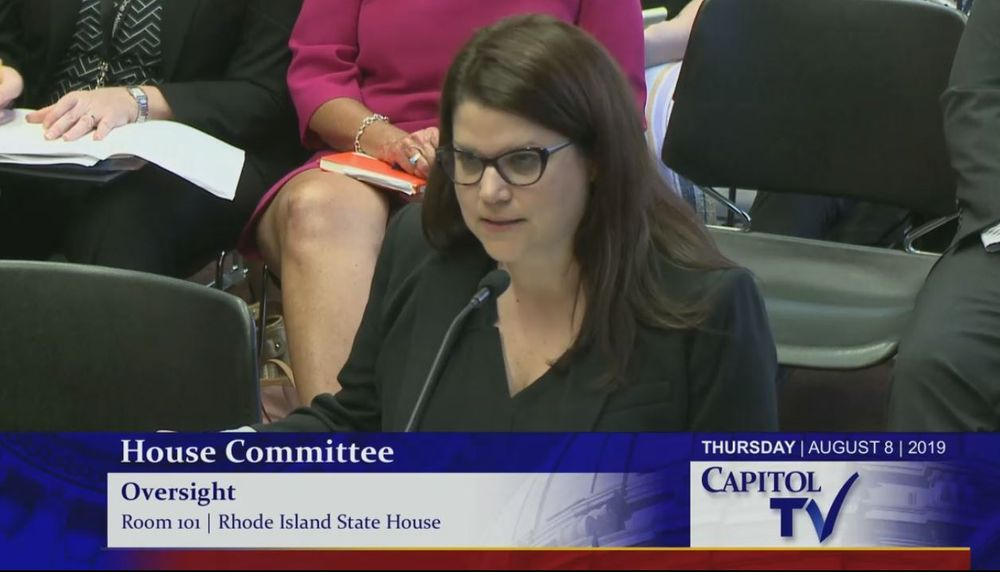 Rhode Island Child Advocate Jennifer Griffith testifying at a House Oversight Committee hearing on DCYF, August 8th, 2019.
