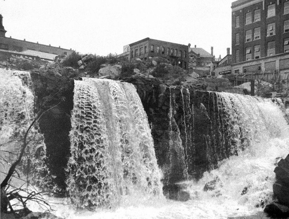 The last of the eight waterfalls in Fall River had disappeared by 1965.