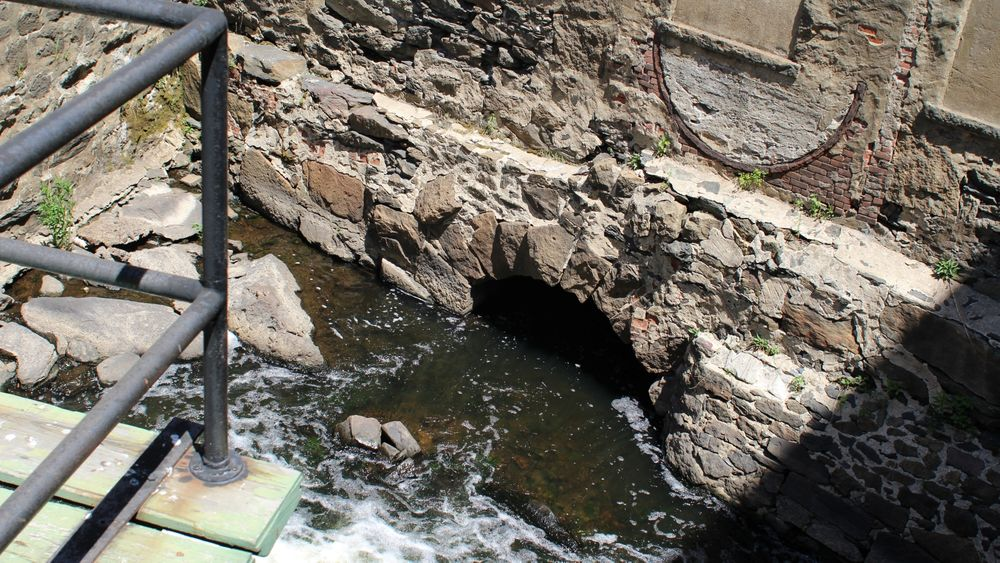 Through most of downtown Fall River, the Quequechan River is buried underground in a culvert.