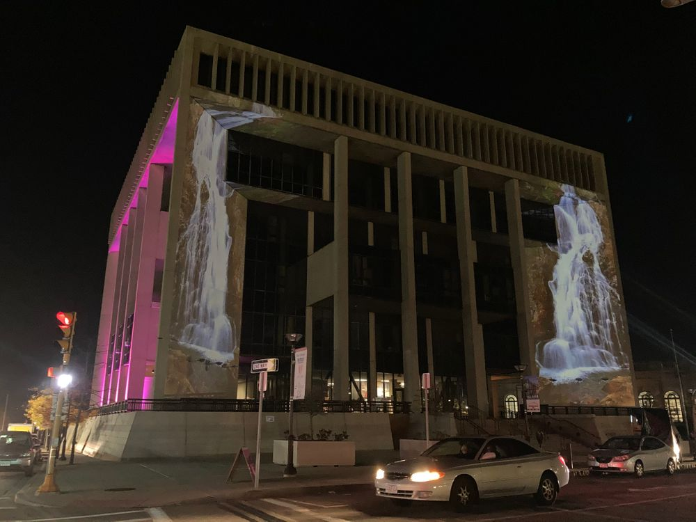Tracy Silva Barbosa's 'Waterfall Benediction' was projected onto Fall River's City Hall during an arts fesival in 2020.