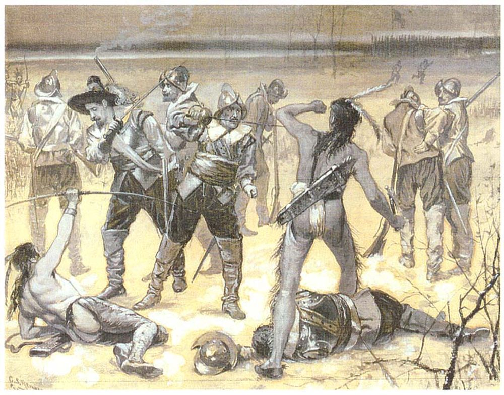 English soldiers versus Pequot warriors in February 22, 1637 by Charles Stanley Reinhart 1890