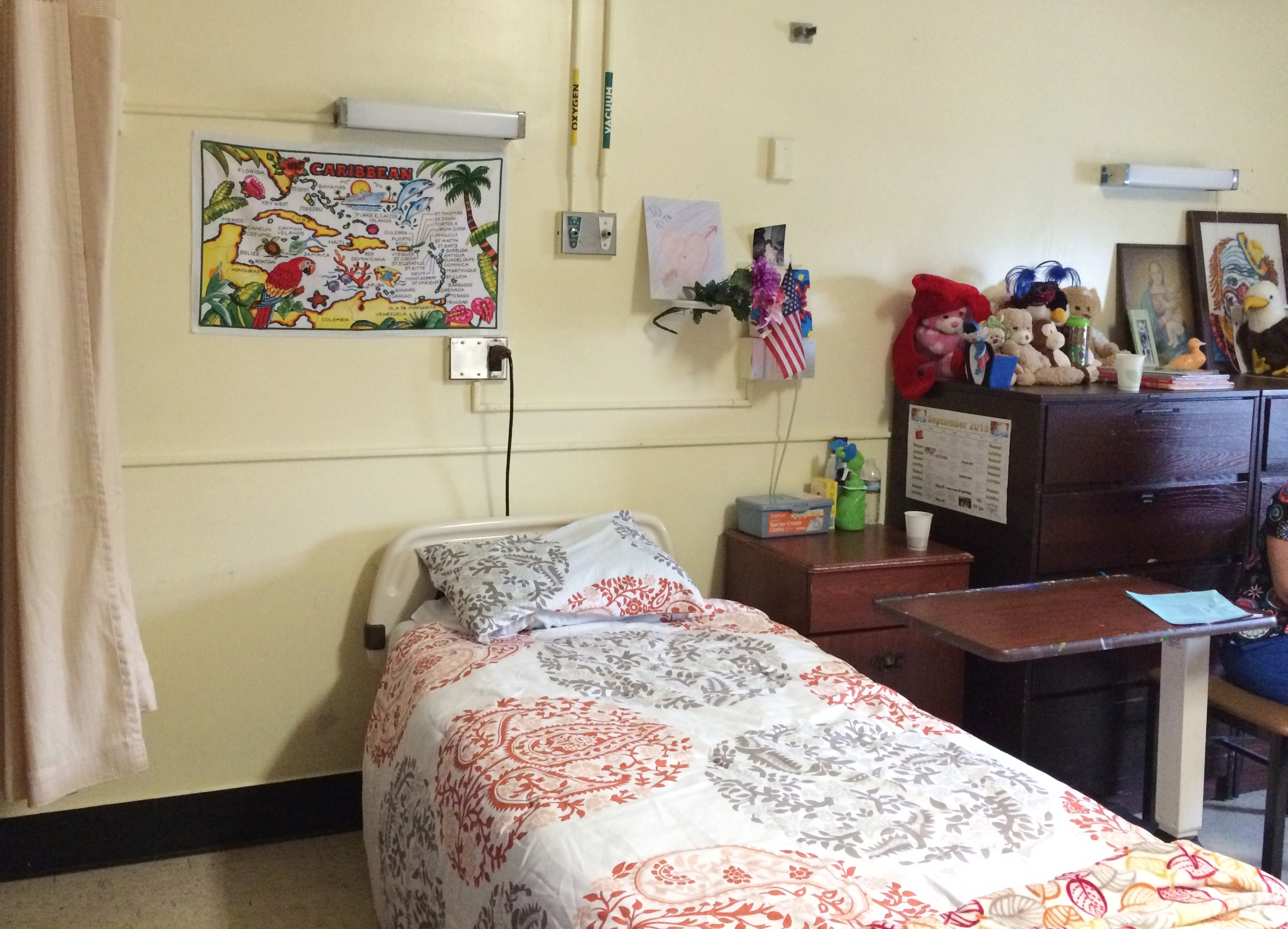Patients sleep several to a room on this second floor unit.