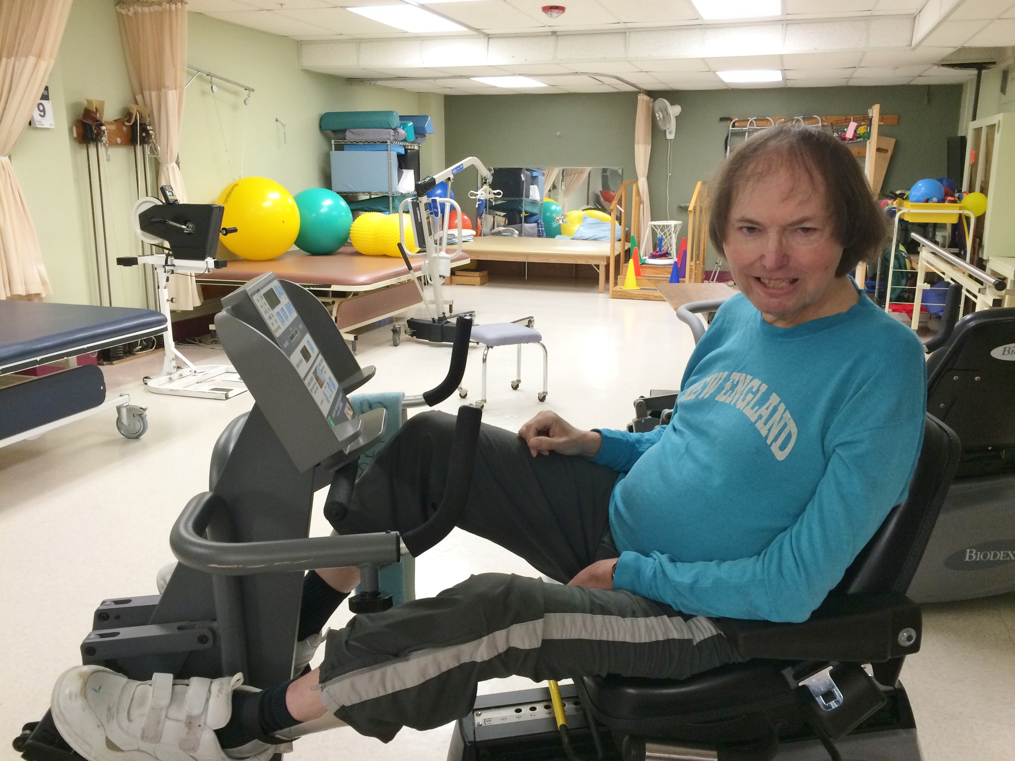 Zambarano patient Chris Burr exercises in the rehab gym.