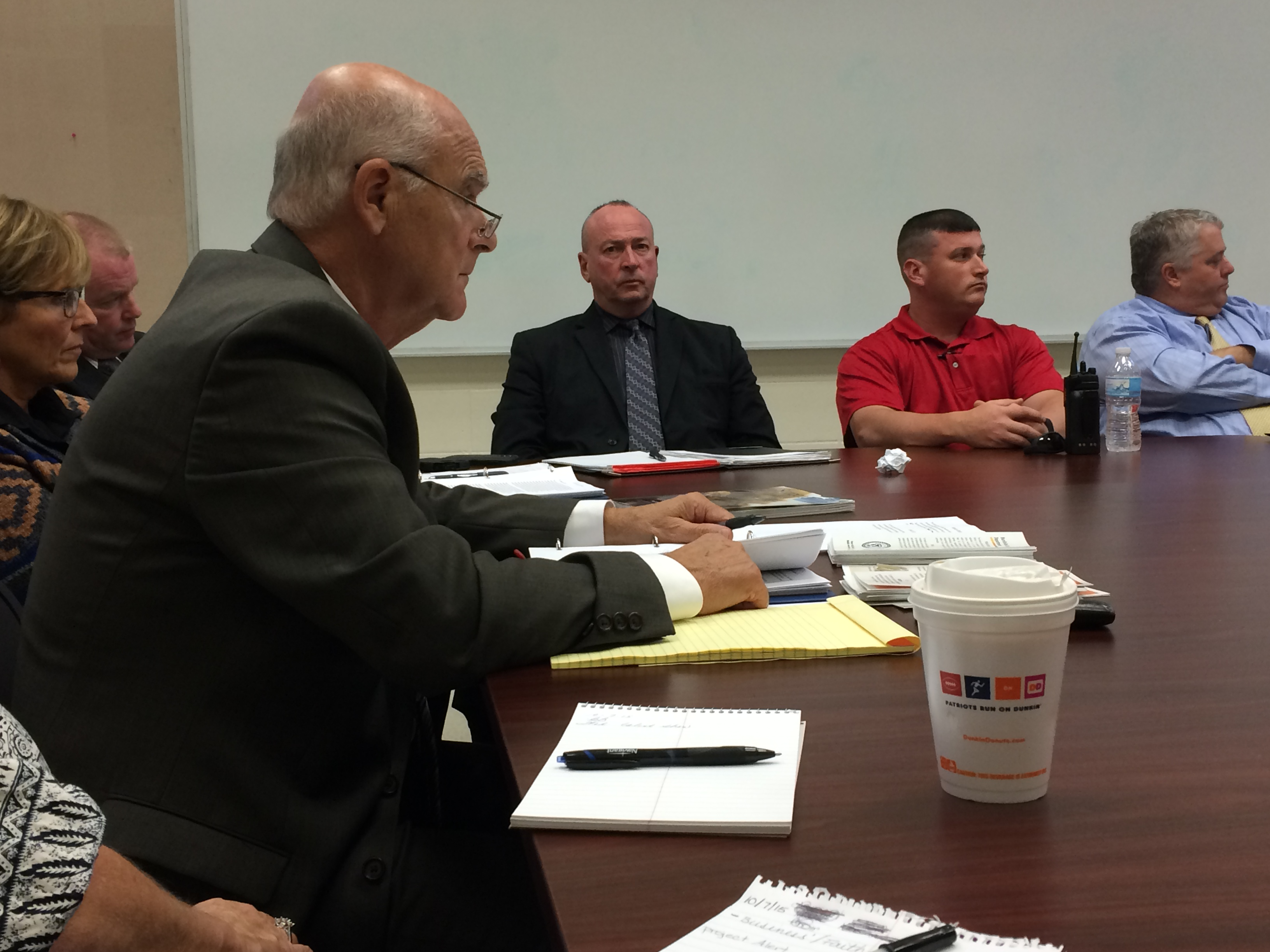 Burrillville Superintendent of Schools Dr. Frank Pallotta c-chairs a meeting of the Burrillville Prevention Action Coalition.