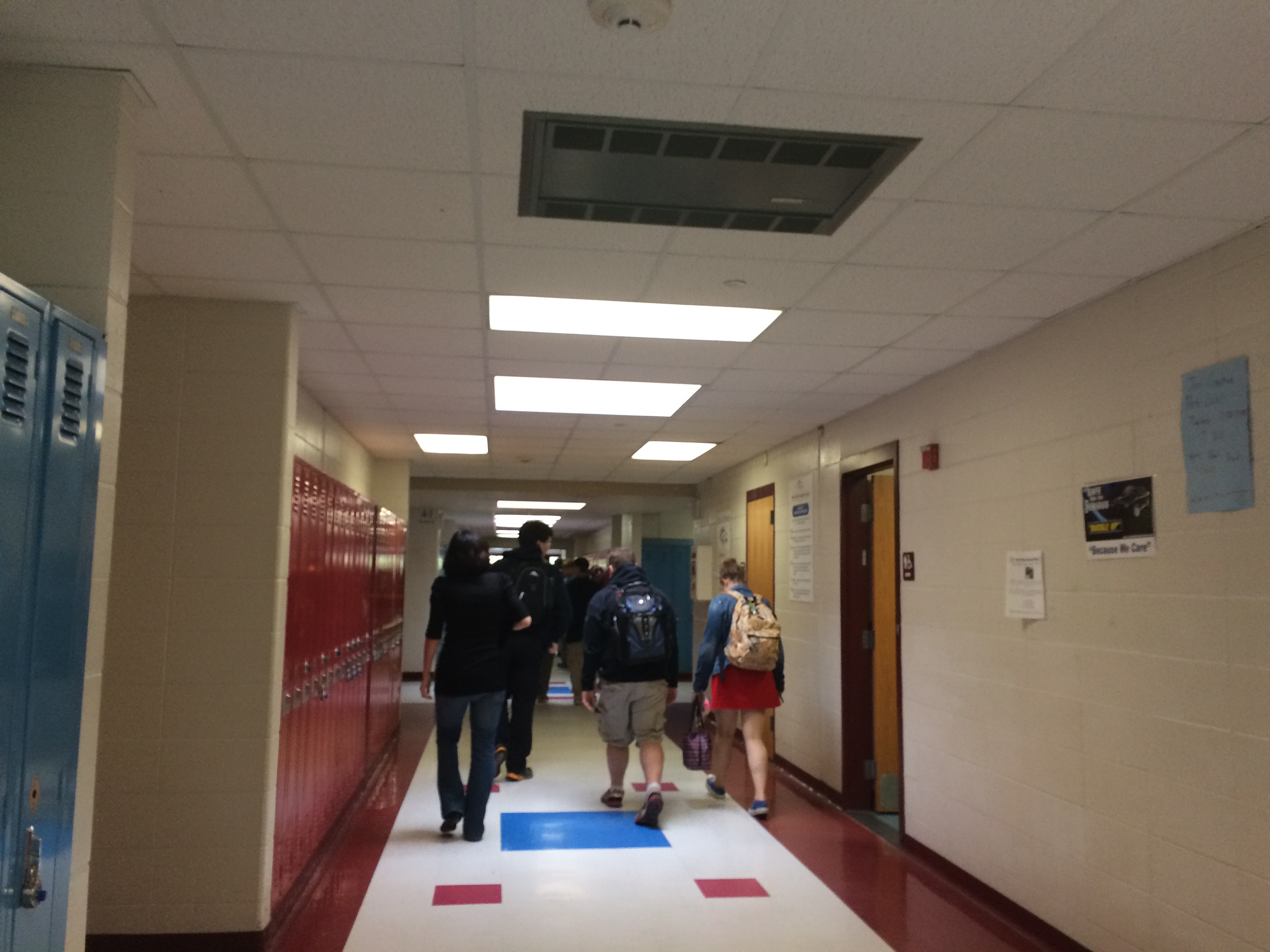 Students head to class at Burrillville High School.