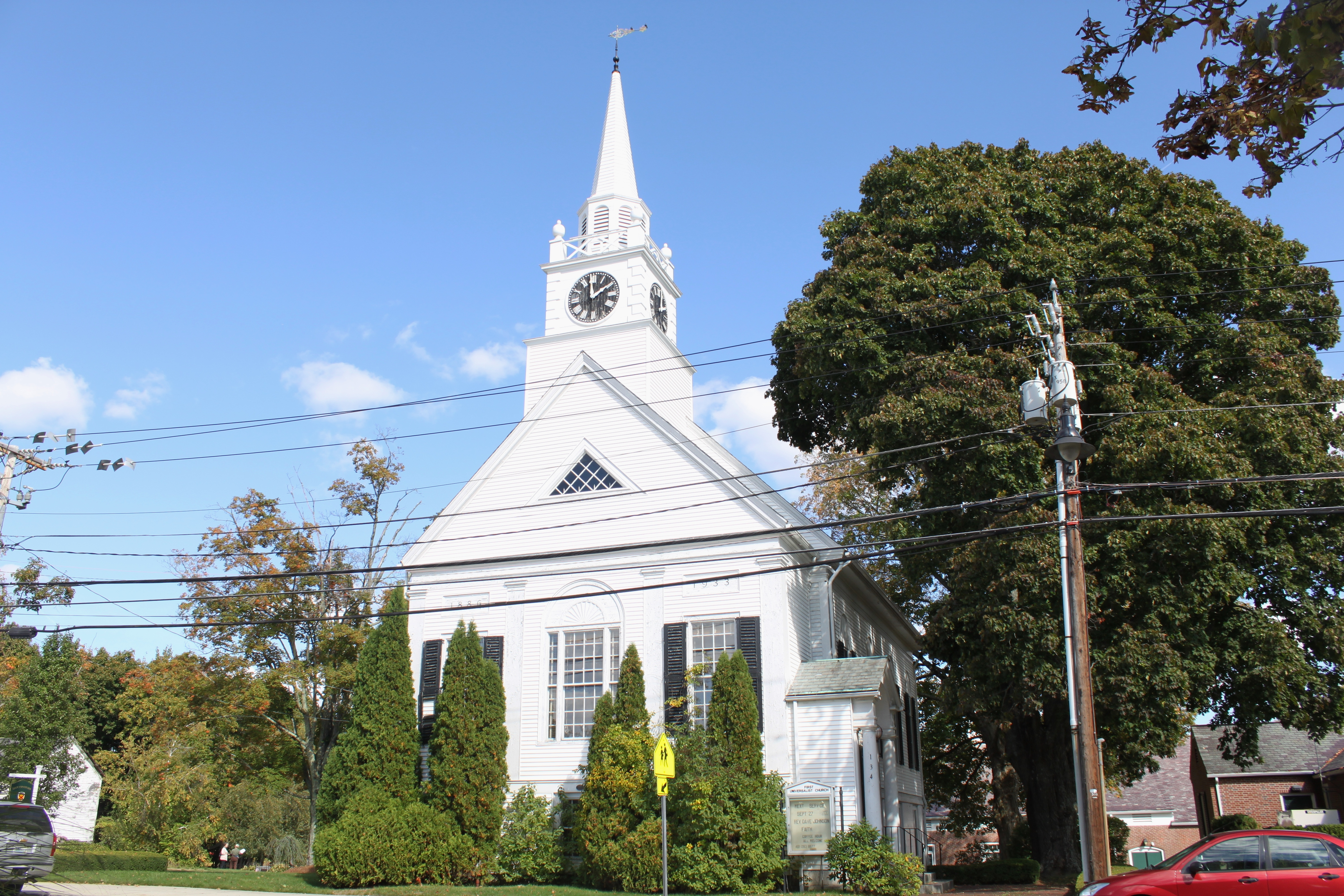 The First Universalist Church, on Main St. in downtown Harrisville, was originally built in the gothic style. But Austin T. Levy spearheaded a facelift in 1933 to make it look more colonial.