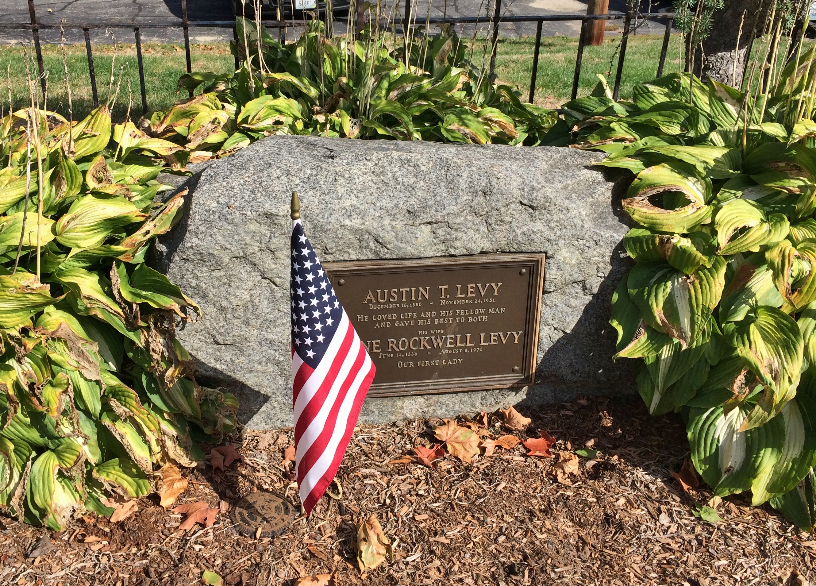 Grave of Austin T. Levy, industrialist and town benefactor.